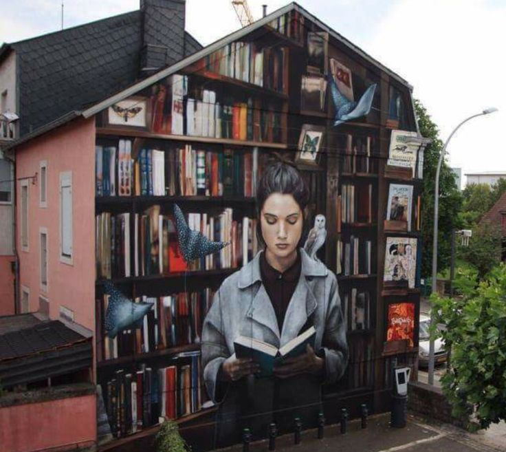 """bookmania:  """"Woman Reading, a street art in Luxembourg  """""""