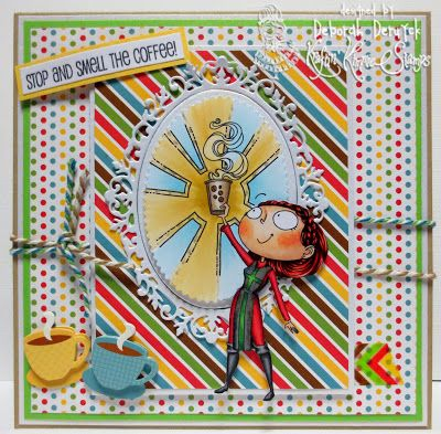 Card made with the december Kardmaking Kit from Kraftin' Kimmie stamps featuring Coffee Crusader. Handmade by Deborah Deruyck