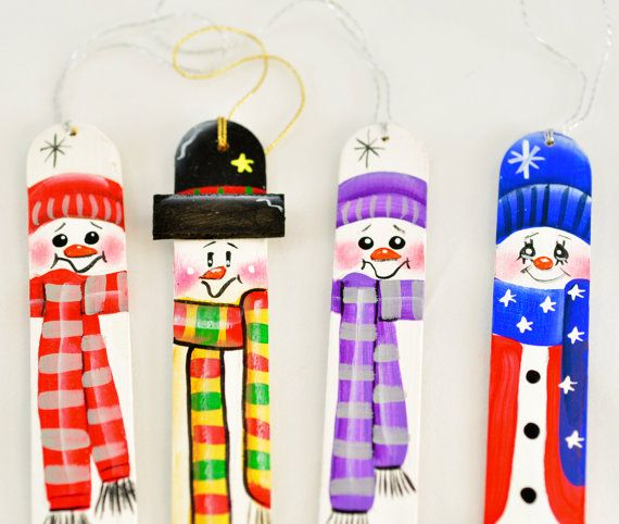 SNOWMAN Collection - Hand Painted Tongue Depressor Christmas Ornaments