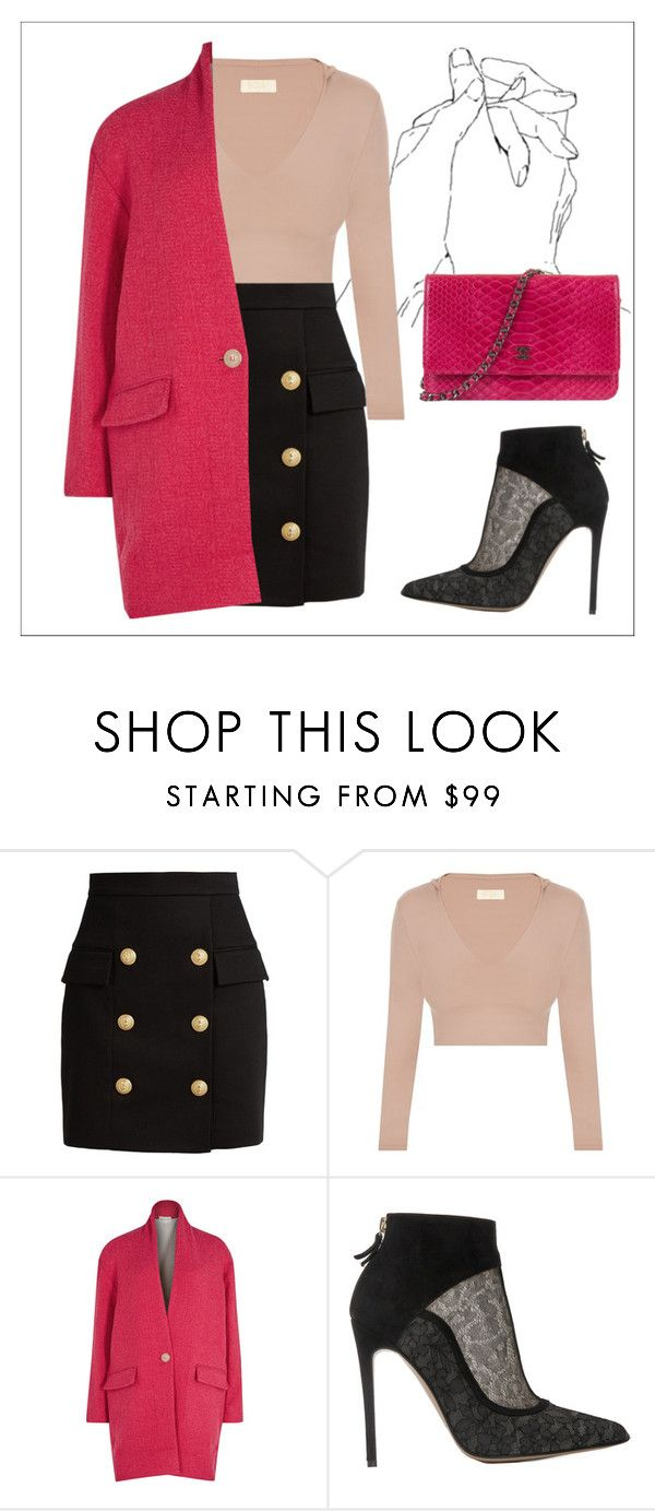 """""""Outwear"""" by dragonflybutterfly ❤ liked on Polyvore featuring Balmain, Étoile Isabel Marant, Bionda Castana, Chanel, coat and outwear"""