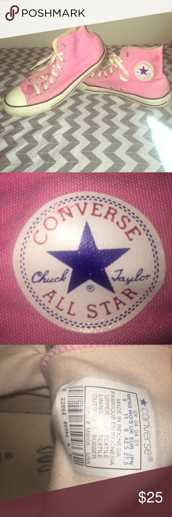 Pink High Top Converse Pink High Top Chuck Taylor Converse! Size 9 men, Size 11 Women. Fit more like a Women's 10. Converse Shoes Sneakers