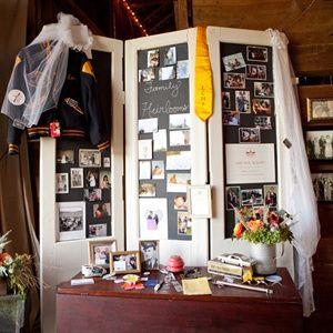 """The high school sweethearts even had a """"history table"""" at their reception, with family photos, heirlooms and Alex's letter jacket."""