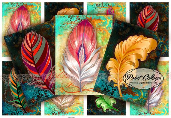 Feather Colors Digital Collage Sheet Designed Gift by PrintCollage