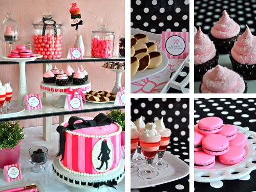 Pink and Black Desserts for Eloise Party