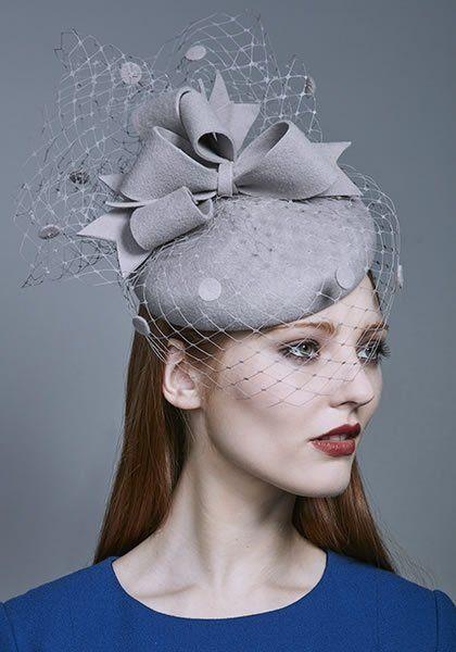 Rachel Trevor Morgan Millinery AW 2016 | R16W15 - Silver grey felt beret with bows, veiling and felt spots