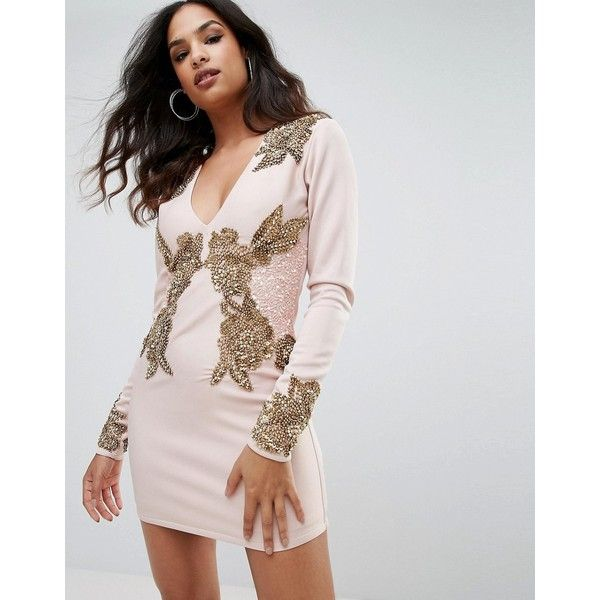 A Star Is Born Long Sleeve Heavily Embellished Dress With V Front ($127) ❤ liked on Polyvore featuring dresses, pink, long-sleeve maxi dresses, long-sleeve mini dress, bodycon maxi dresses, cocktail dresses and long sleeve cocktail dresses