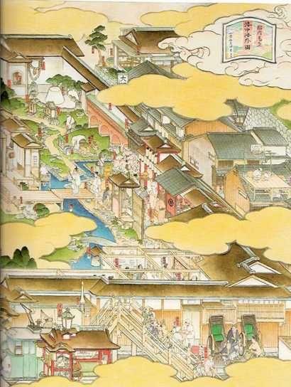 山口晃. Detail of contemporary Japanese map by Akira Yamaguchi