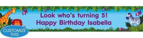 Jungle Animals Custom Birthday Banner 6ft - Custom Banners - 1st Birthday - Birthday Party Supplies - Categories - Party City
