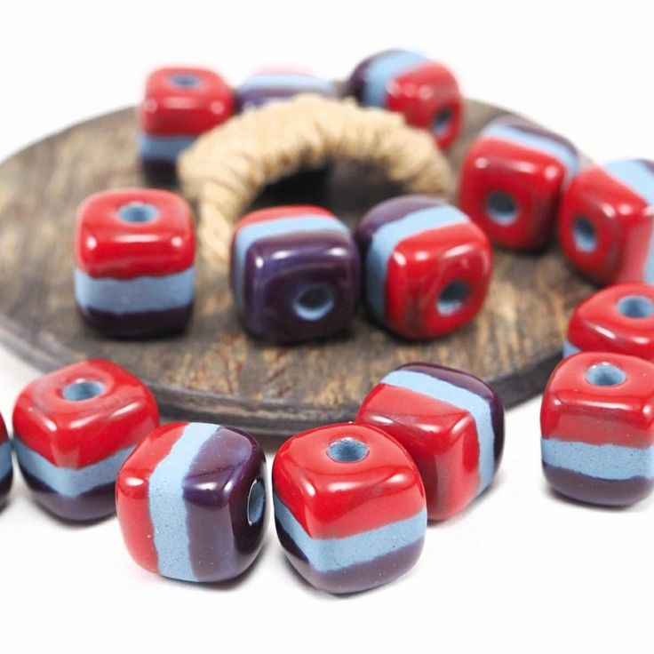 Colorful striped square beads!