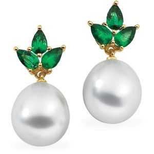 IceCarats 18K Yellow Gold Drop South Sea Cultured Pearl and Genuine Emerald Earrings | May Birthstone | Gift | Birthday | Accessories | #IceCarats | See More - www.IceCarats.com