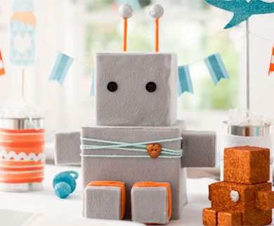 a robert made from boxes covered in grey felt... something very cute about this...