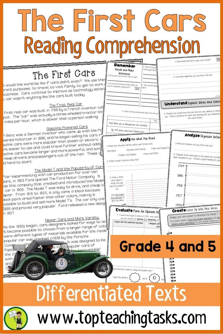 The First Cars Reading Comprehension Passages And Activities Make History Activities Informational Reading Higher Order Thinking Skills Reading Comprehension [ 1102 x 736 Pixel ]