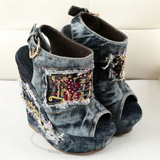 Platform Extreme High Heels Sexy Women Pumps Canvas Fashion Rhinestone Ladies Wedge Shoes Denim Euro Style Open Toe Embroidered