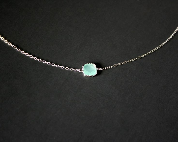 Petite Teal Crystal Necklace Sterling Silver - simple necklace birthday gift dainty delicate short necklace, mothers day gift. $25.00, via Etsy.
