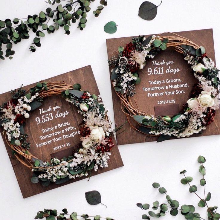 いいね!126件、コメント1件 ― airakaさん(@airaka_ig)のInstagramアカウント: 「Wedding gift for Parents. 結婚式でご両親へ、感謝の気持ちをつたえる、リース付き木製ボード。 こちらは、ご新郎・ご新婦様一緒のデザインでオーダーいただきました。…」