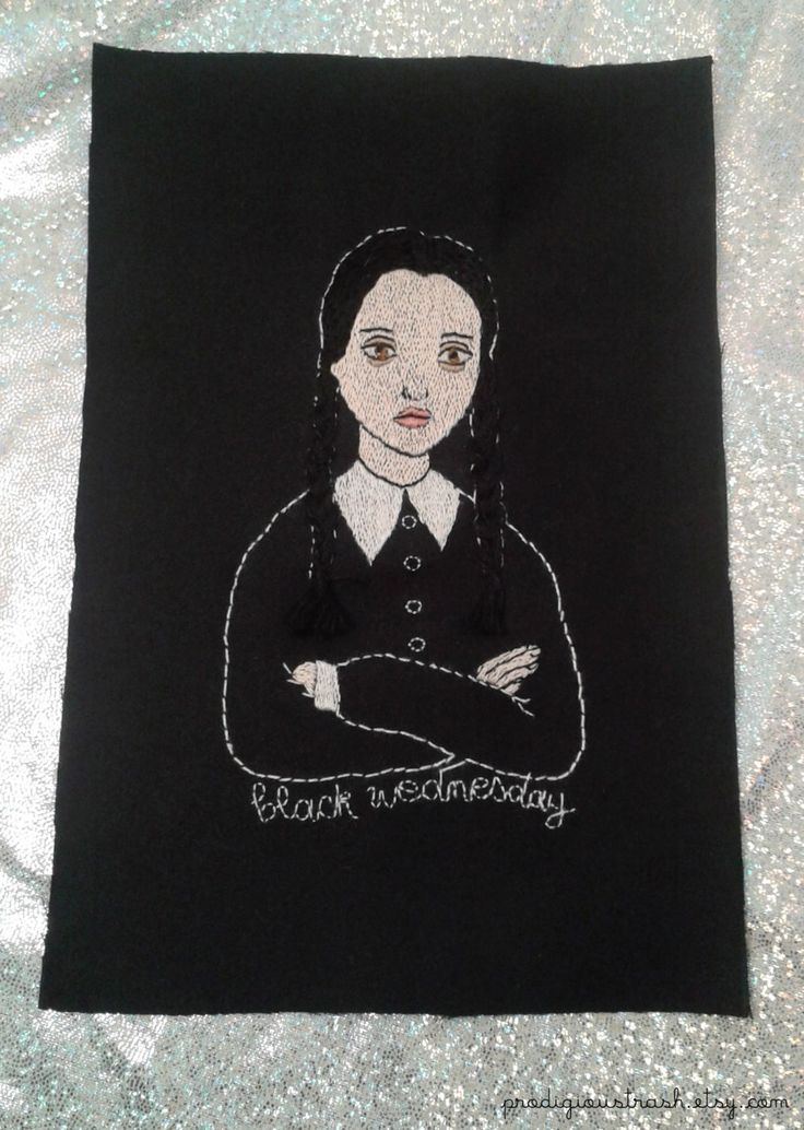 Black Wednesday The Addams Family Hand Embroidered Spooky Goth Patch by ProdigiousTrash on Etsy #etsy #patchgame #embroidery #handmade #patch #patches #wednesdayaddams