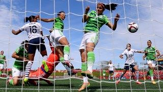 Marie Laure Delie of France heads her teams first goal