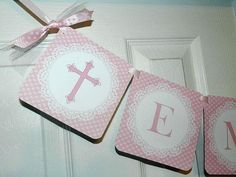 Christening -Baptism -Christening  Banner- Baptism Banner by APartyWithPaper on Etsy https://www.etsy.com/listing/130336347/christening-baptism-christening-banner