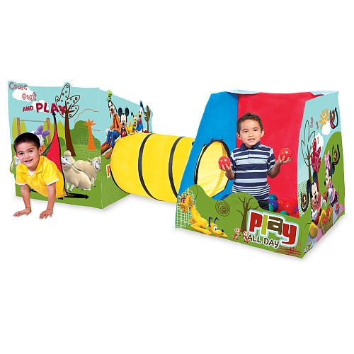 Mickey Mouse Playville Play Tent designed with patented EZ twist technology allows for instant set-up  and easy storage. Includes Ball Zone  with 25 balls, 3 Ft tunnel, and  hideaway for versatile fun. Lightweight  and portable.... Aspen needs a play room