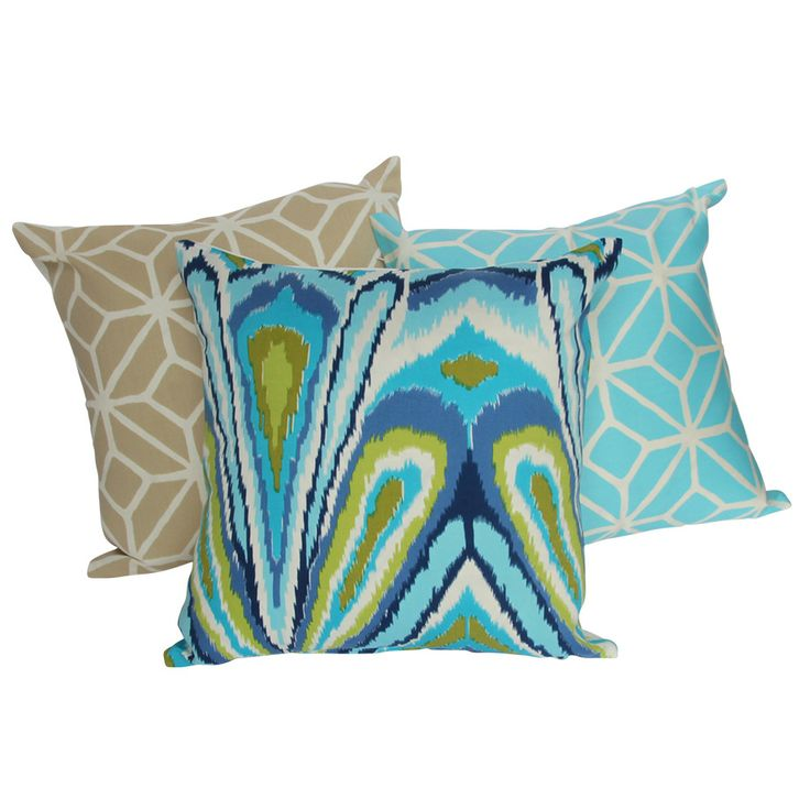 GUEST BED: Trina Turk Peacock Cushion in Pool Blue. Cushions, more cushions!
