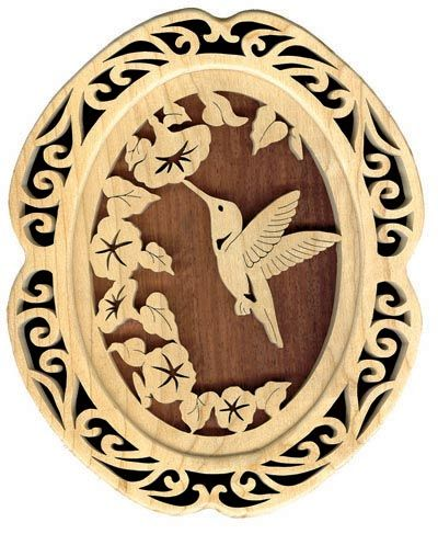 Free Fretwork Patterns Wildlife | SLD125 - Self-Framing Hummingbird Plaque Pattern
