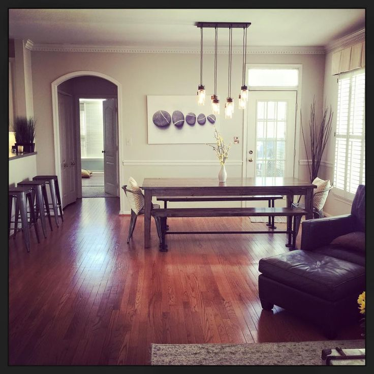 Solid Wood Farmhouse Table With Matching Industrial Style Bench And Metal Dining