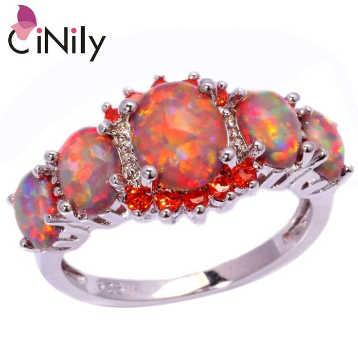 Orange Fire Opal Orange Garnet Silver Ring Wholesale Retail Hot Sell Wedding Party Gift for Women Jewelry Ring Size 5-12 OJ4576