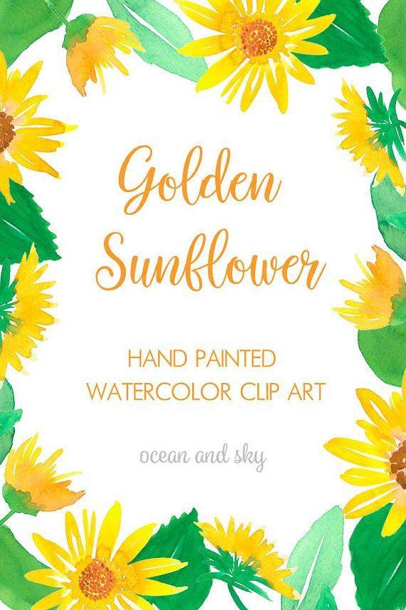Golden Sunflower Watercolor Clipart Wedding Clipart Floral Clipart
