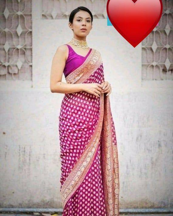 Banarasi Weaving Silk rich pallu saree With Banarasi Silk Pink blouse  sari  designer saree  indian saree  Wedding Sari  Gift Sari