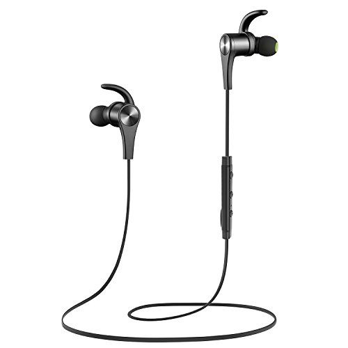 SoundPEATS Bluetooth Headphones In Ear Wireless Earbuds 4.1 Magnetic Sweatproof Stereo Bluetooth Earphones for Sports With Mic (Upgraded 8 Hours Play Time Secure Fit Noise Cancelling) -Black