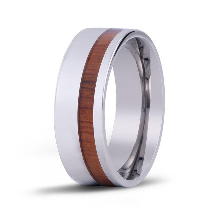 The Offset Koa Wood Inlay Ring