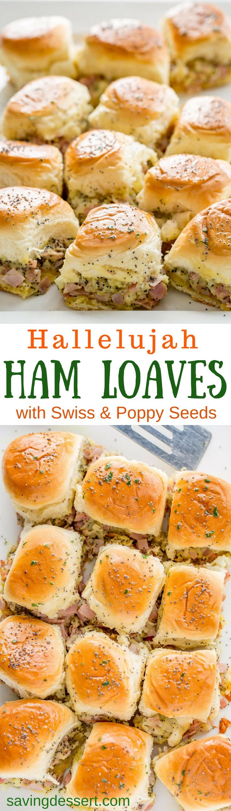 Hallelujah Ham Loaves (also known as ham and cheese sliders) - Stuffed with chopped sweet ham, plenty of shredded Swiss, diced onions and poppy seeds, these easy make-ahead hearty sliders are just the thing for your office party, anytime get-together, or football-frenzied hoopla!