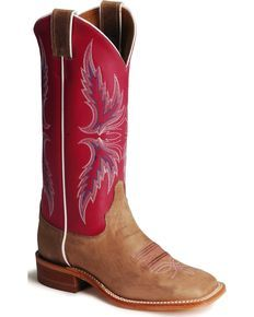 Justin Bent Rail Hot Pink Cowgirl Boots - Square Toe, Tan