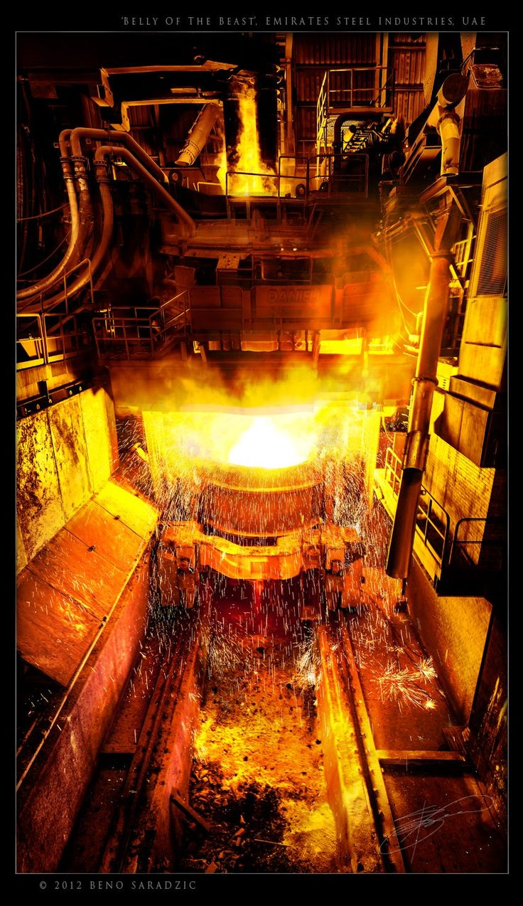 An utterly FEROCIOUS display of the conquest of fire and human intelligence. You're looking at the incredibly frightening and awe inspiring steel furnace at the Emirates Steel in Abu Dhabi, one of the biggest steel factories in the world. This furnace is as big as a 10 storey building, louder than a passenger plane and as hot as a volcano! It's a shame this photograph can't convey the smell of the liquified iron ore and the earthquake rumble of the 1,200 C blast furnace.
