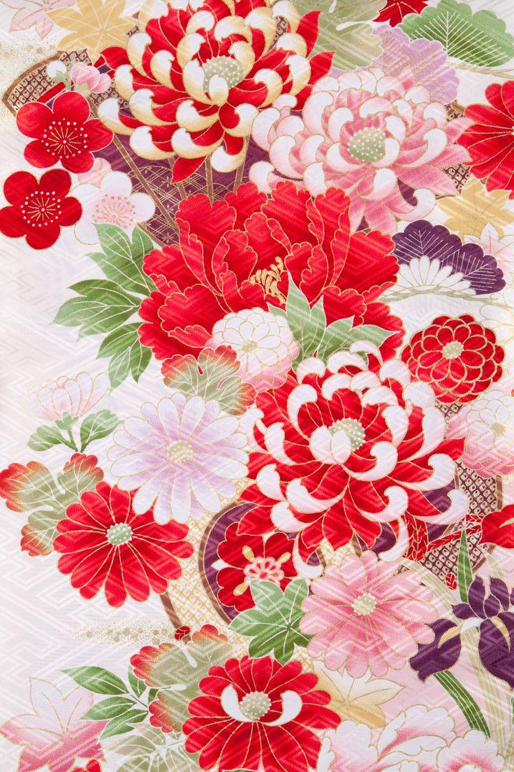 着物 No:865 商品名:白地 古典ボタン菊