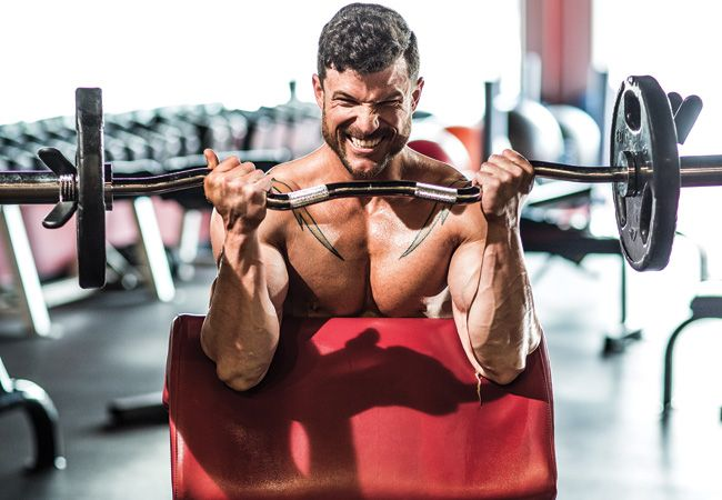 Cambered bar preacher curls for HUGE biceps. This move was inspired by the likes of Steve Reeves and Reg Park