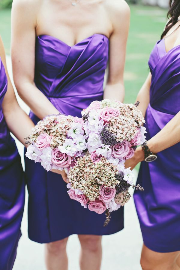 purple, just the most loved wedding color EVER. purple bridesmaid bouquets #purple #bridesmaids http://www.weddingchicks.com/2013/11/14/vegan-wedding/