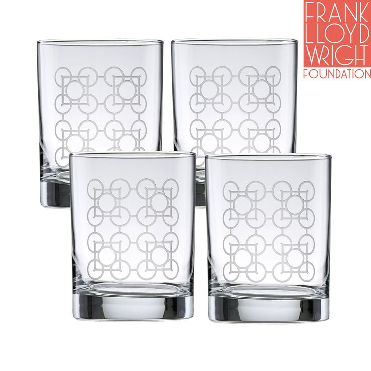 Frank Lloyd Wright Luxfer Deep Etched DOF Double Old Fashioned Glass 14-Ounce Set of 4