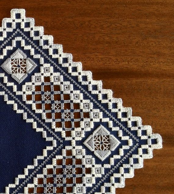 Navy Blue & Greys Hardanger Piece by MnMom23 on Etsy