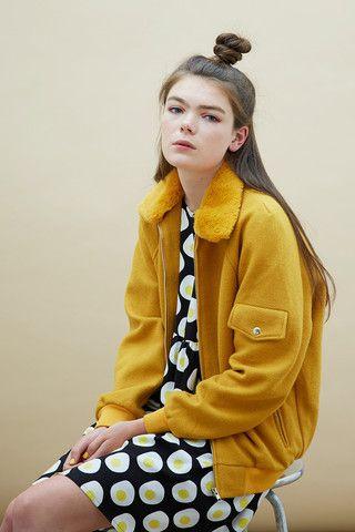 Wool Bomber Jacket Mustard - THE WHITEPEPPER