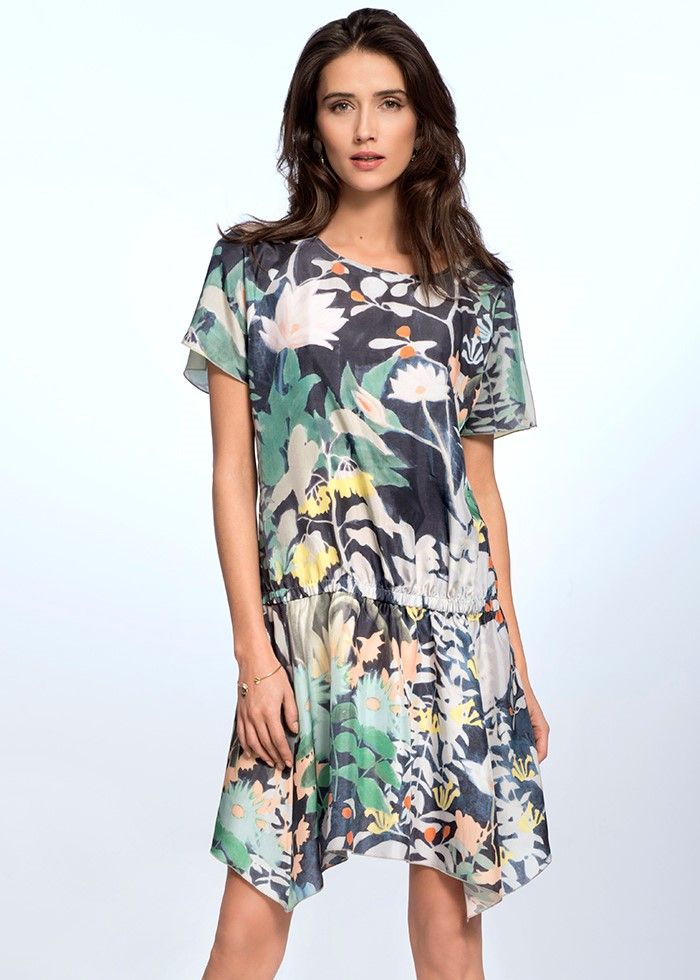 FLORAL SILK DRESS €159.00 Etheric, subtle dress, created from the finest quality of Italian silk, makes the women silhouette look feminine and sensual.