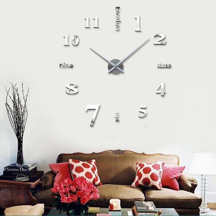 moyo modern mute frameless large 3d diy wall clock mirror sticker for room home decorations big