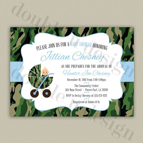 Lovely Camouflage Baby Shower Invitation   Printable Camo Invitation With Color  Options