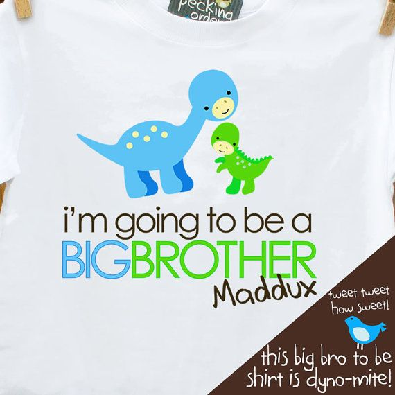 Our popular DINO big brother to be design on a front-only version!*** This is printed for a big brother but also can be made for a big sister or big