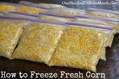 How to Freeze Fresh Corn http://www.onehundreddollarsamonth.com/how-to-freeze-fresh-corn/