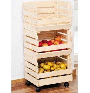Scaffale Frutta Verdura Patate 3 ripiani Cassetta in Legno e Rotelle 37x30x80