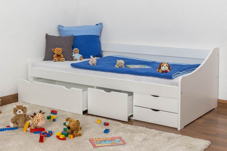 Jugendbett / Funktionsbett Kiefer massiv Vollholz weiß lackiert 94, inkl. Lattenrost - Abmessung 90 x 200 cm, Steiner Shopping Möbel