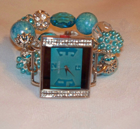Turquoise and Silver Chunky Beaded Watch Band and by BeadsnTime, $30.00
