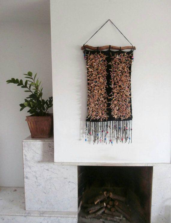 Crochet wall tapestry Bohemian Wall Hanging Yarn by handmadebyfofo