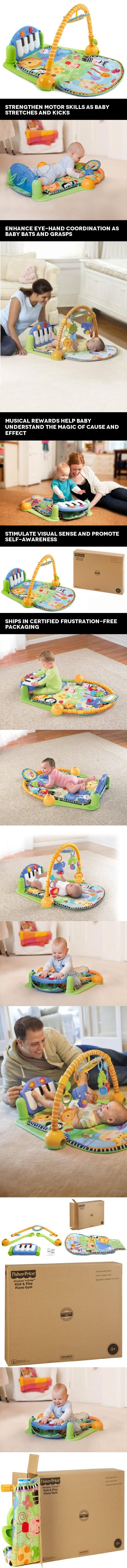 Fisher-Price Kick and Play Piano Gym, Discover 'N Grow, Baby kicks. Music plays. Lights sparkle. And that's just the beginning. Movable toys on the overhead gym encourage baby to bat and grasp. Move the arch down for tummy-time play, or let baby sit and ..., #Baby, #Baby Gyms & Playmats